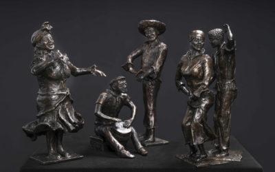 Tambu Dansers met Muzikanten in brons